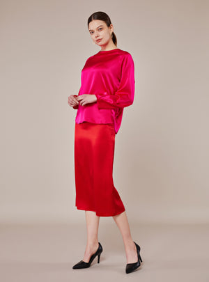 Blake Midi Skirt_True Red - LYKEY