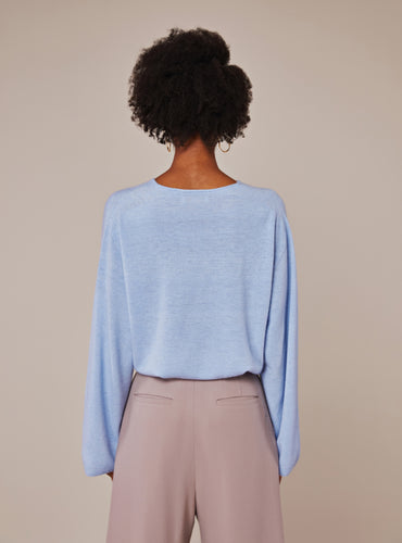 Lauren Sweater_Light Steel Blue - LYKEY