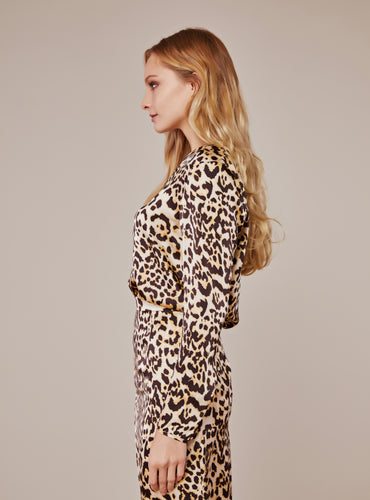 Jennifer V Neck Blouse_Persian Leopard - LYKEY