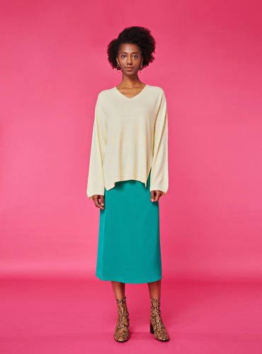 Blake Midi Skirt_Solid Green - LYKEY