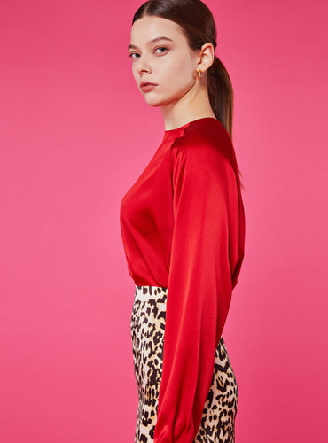 Heidi Round Neck Blouse_True Red - LYKEY