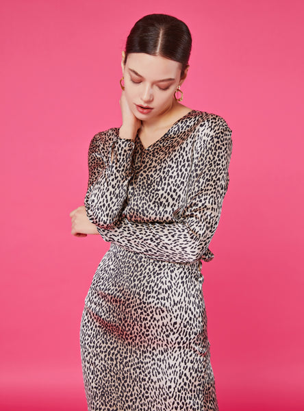 Jennifer V Neck Blouse_Snow Leopard