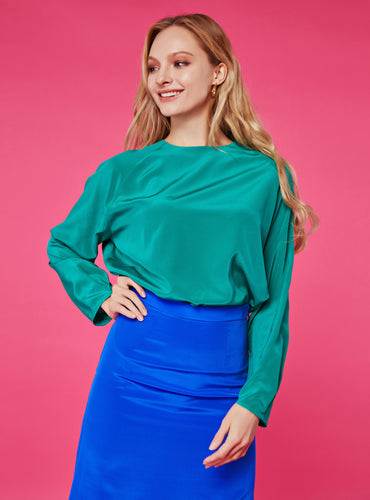 Heidi Round Neck Blouse_Solid Green - LYKEY