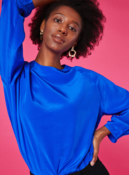 Heidi Round Neck Blouse_Cobalt Blue