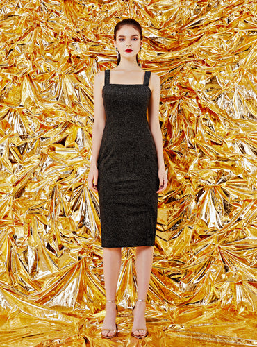 Sophia Velvet Midi Dress_Gold Glitter