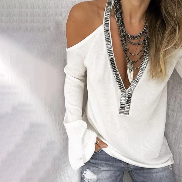 Sexy Deep V-Neck Solid Color Off-Shoulder Flare Sleeve Sequined T-Shirt
