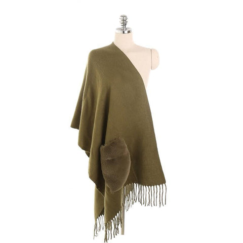Solid Color Tassel With Pocket Cashmere Warm Functional Scarf
