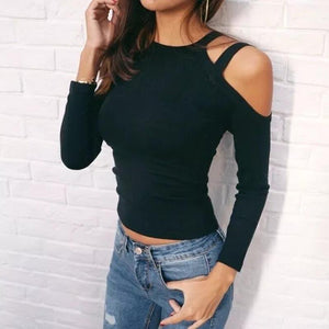 Long Sleeved Shoulder Hollow T-Shirt