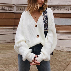 Solid Color Button V-neck Long Sleeve Cardigan Sweater