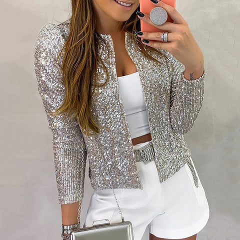 Fashion Solid Color Sequin Short Cardigan