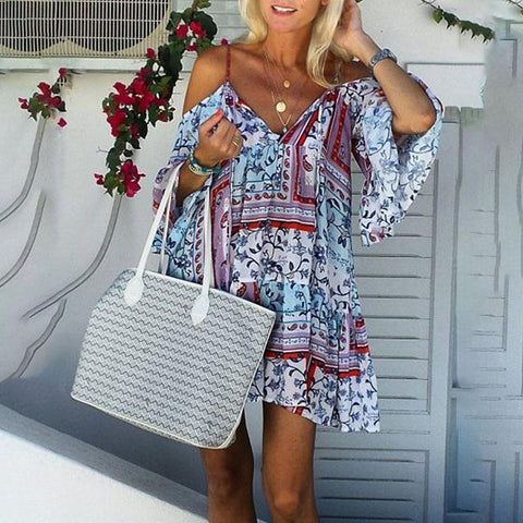 Off-The-Shoulder Vintage Printed Lace-Up Sling Dress