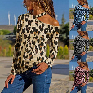 Fashion Leopard Print One Shoulder T Shirts