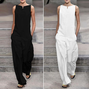 Fashion Solid Color Loose Jumpsuits(Black & White)