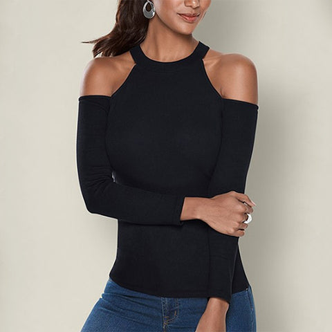 Sexy off-the-shoulder long-sleeved T-shirt
