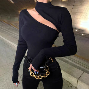 Ladies Sexy Street Style Turtleneck Hollow Knit Blouse