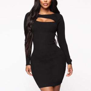 Sexy Cutout Slim Solid Color Dress