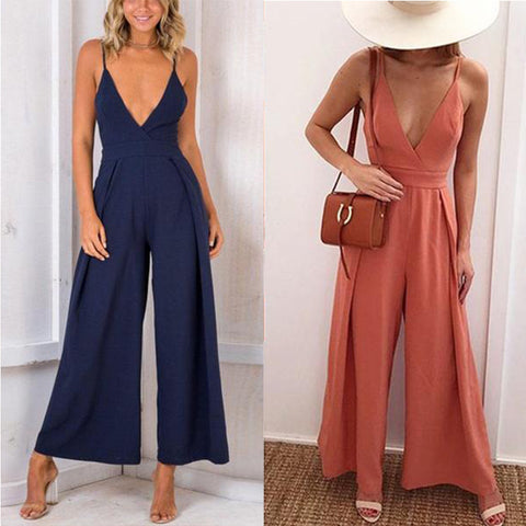 Sexy V Neck Backless Sleeveless Jumpsuit