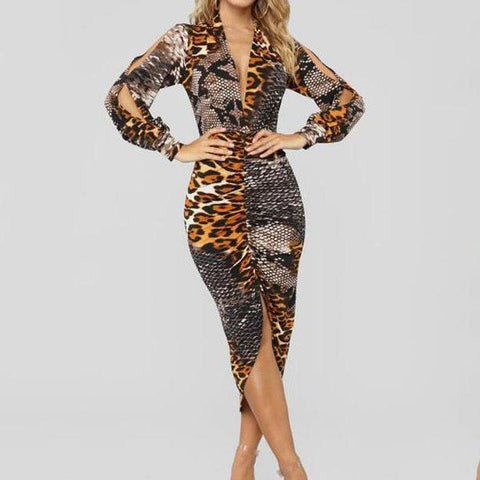 Deep V Neck  Leopard Printed  Long Sleeve Bodycon Dresses