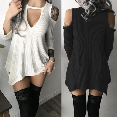 Open Shoulder Round Neck  Asymmetric Hem  Plain  Long Sleeve Casual Dresses