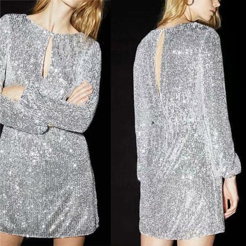 Sexy Sequined Long Sleeves Dress