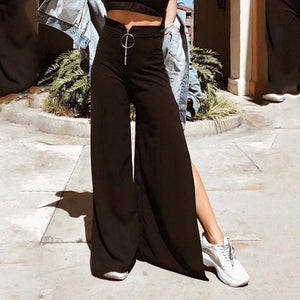 Casual Waist Wide Leg Split Solid Color Pants