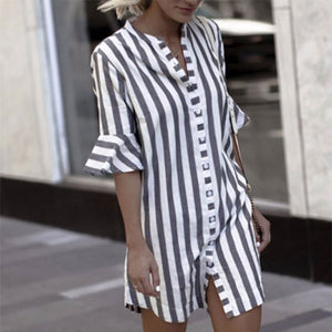 Crew Neck  Single Breasted  Striped  Petal Sleeve Shirt Dresses