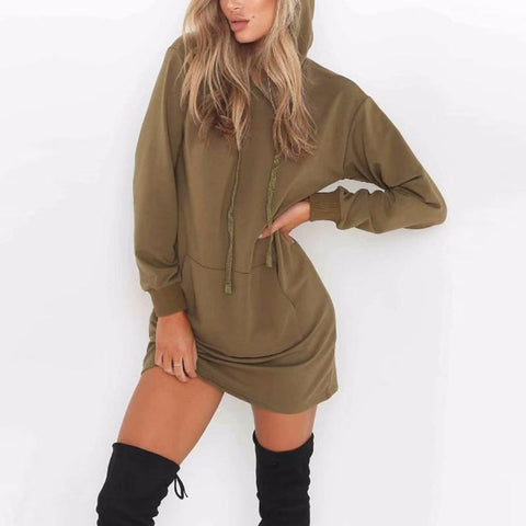 Hooded  Kangaroo Pocket  Plain  Long Sleeve Casual Dresses