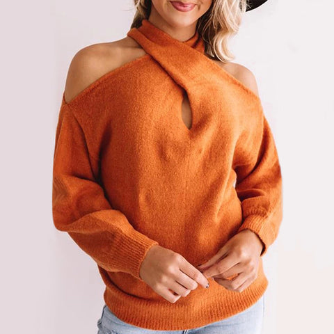 Fashion Pure Color Shoulder Collar Sweater