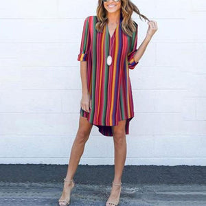 V Neck  Stripes Half Sleeve Vacation Casual Rainbow Shift Dresses