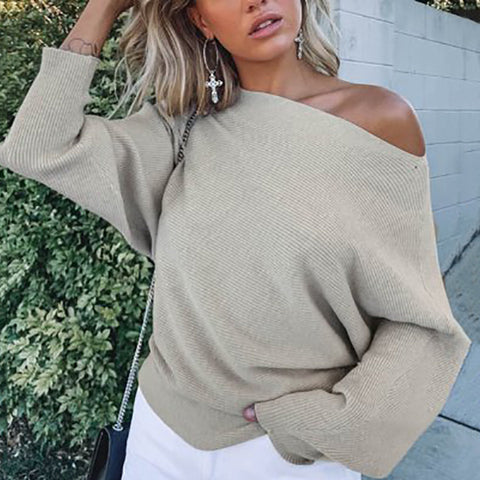 Fashion Solid Color Off-the-shoulder Bat Sleeve Sweater