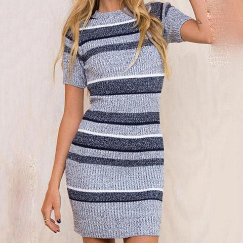Round Neck  Striped Bodycon Dresses
