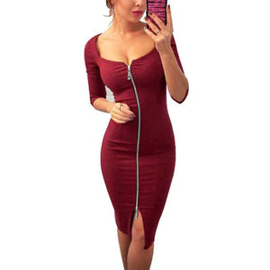 Deep V-Neck  Zips  Plain Bodycon Dresses