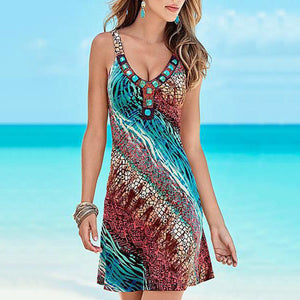 Spaghetti Strap  Print Shift Dress