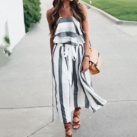 Bohemia Sleeveless Two-Piece Stripe Maxi Dress