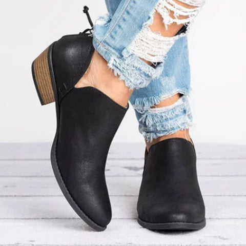 Plain Chunky Low Heeled Point Toe Casual Ankle Boots