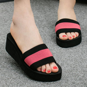 Color Block  Mid Heeled  Peep Toe  Casual Slippers