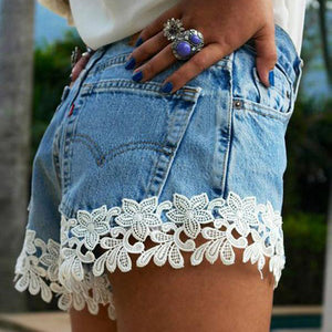 Sexy Lace Stitching Denim Short Pants