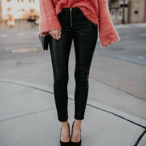 Fashion Plain Casual Close-Fitting Leather Pant