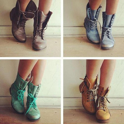 Plain  Low Heeled  Criss Cross  Round Toe  Casual Flat Boots