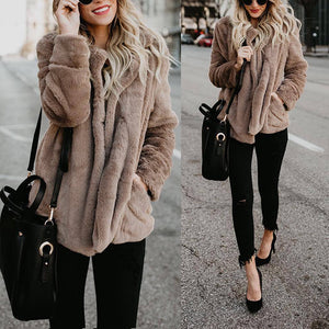 Fashion Lapel Long Sleeve Pocket Fur Coats