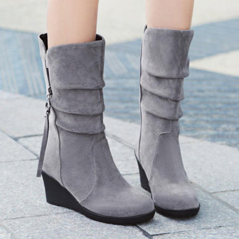 Plain High Heeled Casual Outdoor Mid Calf High Heels Boots