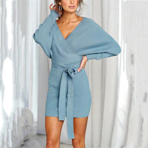 Sexy Tie With V-Collar Bag Long Sleeves Dress