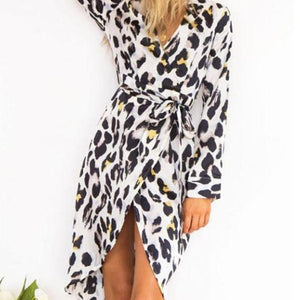 V Neck  Asymmetric Hem  Belt  Leopard  Long Sleeve Casual Dresses