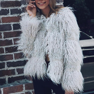 Round Neck Long Sleeve Fashion Fur Coat