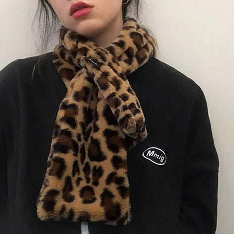 Fashion Color Leopard Plush Thick Cross Scarf