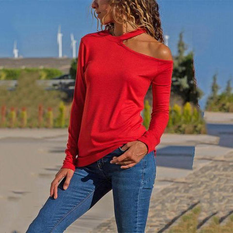 Casual Pure Color Wear A Long Sleeve Top With Sexy Neck And Bare Shoulders T-Shirt