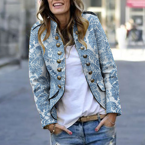 Fashion Print Long Sleeve Suit Jacket