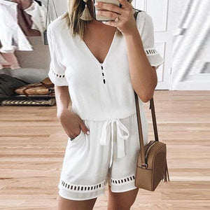 V Neck Short Sleeve Hollow Out Jumpsuits