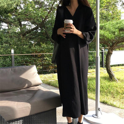 Casual Loose V Neck   Long Sleeve Maxi Dress