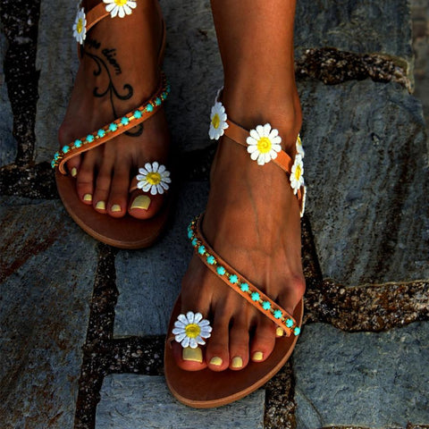Floral  Flat  Peep Toe  Date Outdoor Flat Sandals
